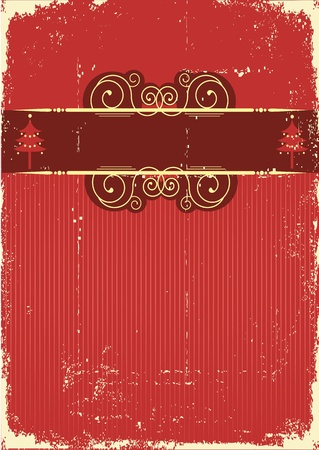 Vintage red Christmas card .Vintage background Vector