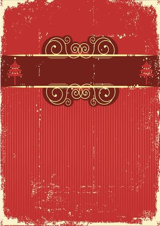 Weinlese-rote Weihnachtskarte. Vintage Hintergrund