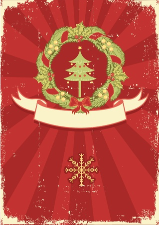 Vintage Christmas card for text with traditional wreath and grunge elements Stock Vector - 10802888