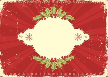 old fashioned christmas: Vintage Christmas card .Grunge background