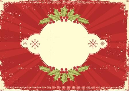 Vintage Christmas card .Grunge background