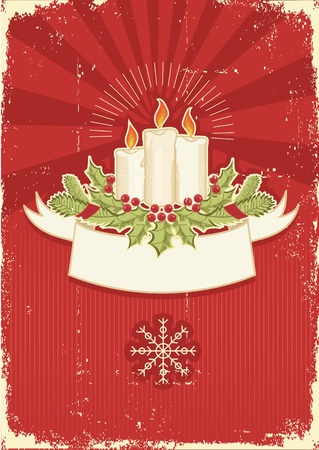 old fashioned christmas: Vintage red Christmas card with candles .Vintage background