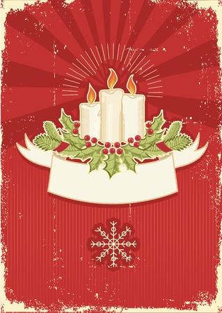 velas de navidad: Vintage rojo la tarjeta de Navidad con velas. Vintage de fondo