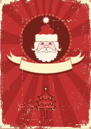 Vintage red Christmas card with portrait of Santa .Vintage background Vector