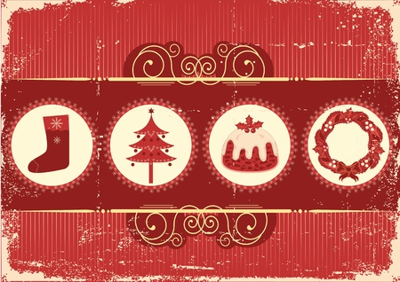 vintage christmas background: Vintage christmas background card for holiday on old paper