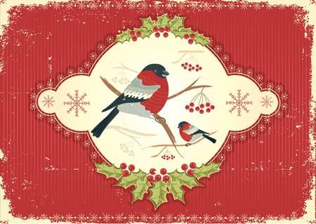 Vintage greeting card with winter bullfinches in winter Vector