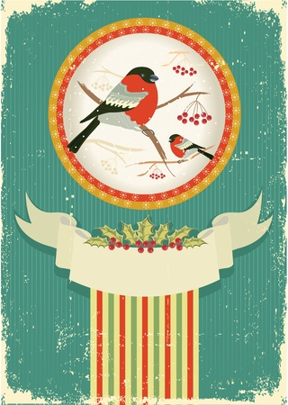 bullfinches in winter.Vintage christmas card for text Stock Vector - 10853685
