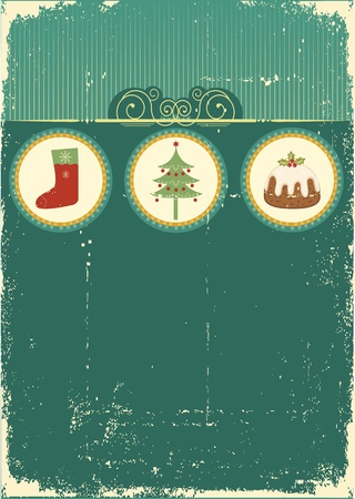 socks: Vintage Christmas card .Vintage background for design