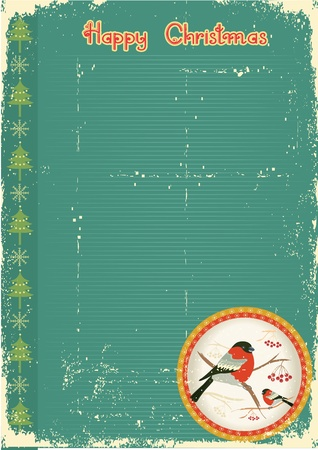 bullfinches in winter.Vintage christmas card for text Stock Vector - 10853686
