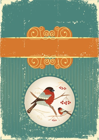 bullfinches in winter.Vintage christmas card for text Vector