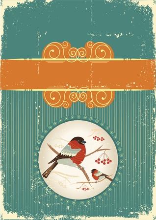 ciuffolotti in carta winter.Vintage Natale per il testo