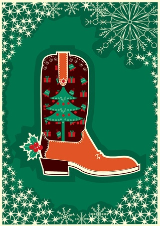 Cowboy christmas card with boot decoration. Stock Vector - 10928906