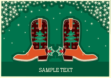 Cowboy christmas card with boots and holiday decoration Vector