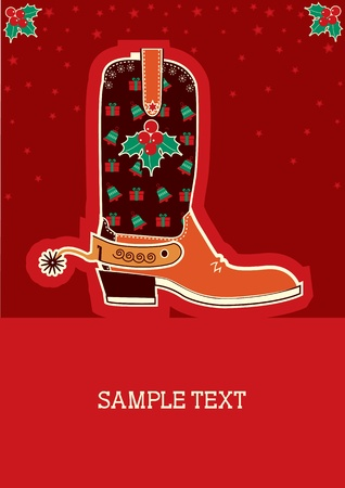 Cowboy red christmas  card with boots and holiday decoration Vector