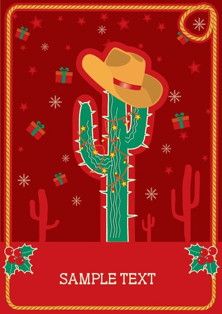 southwest: Cowboy red christmas  card with green cactus and winter holiday decoration for text