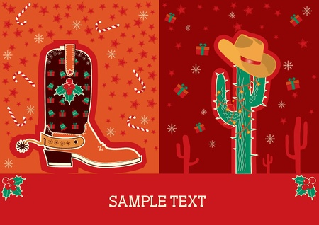 Cowboy red christmas  card with boots and holiday decoration for text Vector