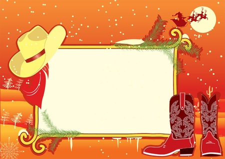 Billboard frame with cowboy hat and boots.Vector christmasn background