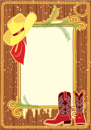 cowboys: Billboard frame with cowboy hat and boots.Vector christmasn background