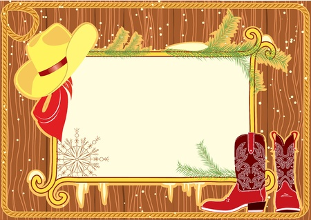 Billboard frame with cowboy hat and boots.Vector christmasn background Stock Vector - 10928542