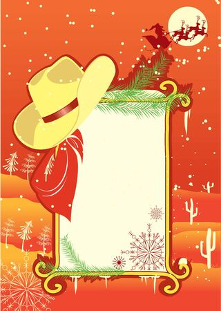 western border: Billboard frame with cowboy hat.Vector christmasn background Illustration
