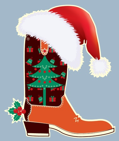 Cowboy christmas card with boot and Santas red hat  Illustration