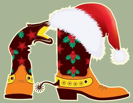 botas de navidad: Botas de vaquero y un sombrero rojo de Santa Claus para el diseño Vectores