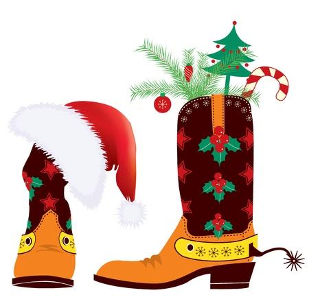 botas de navidad: botas de vaquero y sombrero rojo de Santa para el diseño de Navidad