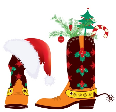 Cowboy boots and Santa's red hat  for christmas design Stock Vector - 10928553