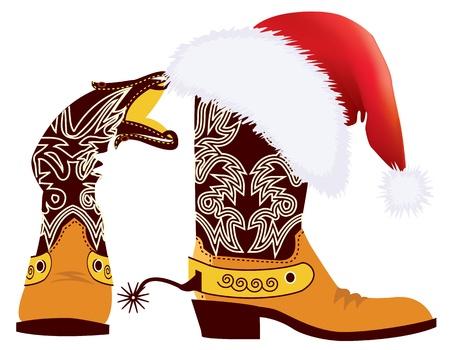 botas de navidad: Botas de vaquero y un sombrero rojo de Santa Claus en blanco para el dise�o Vectores