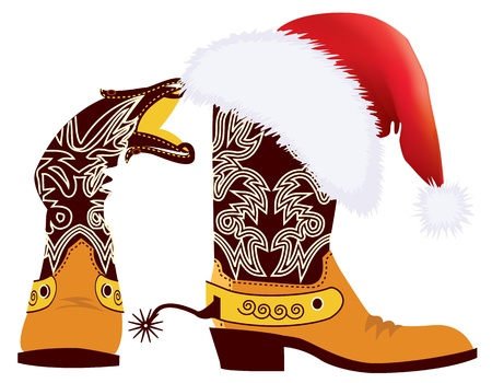 Cowboy boots and Santa's red hat on white for design Stock Vector - 10928541