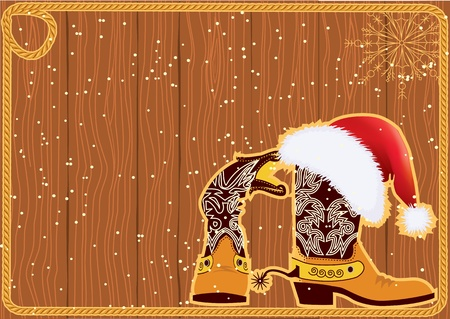 western wall: Billboard frame with cowboy boots and Santas red hat on wood wall.Vector christmasn background Illustration