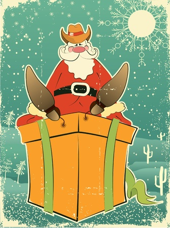 western cartoon: Santa Claus with cowboy hat and boots on present box.Retro card for selebrate on old paper texture