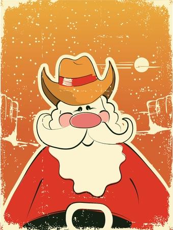cappello cowboy: Babbo Natale con cappello da cowboy. Card Retro sulla trama della carta vecchia