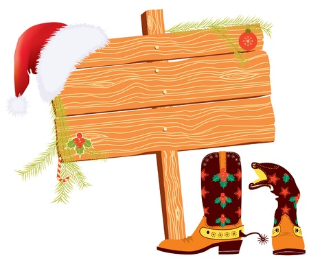 red boots: Christmas background for text with cowboy elements on white