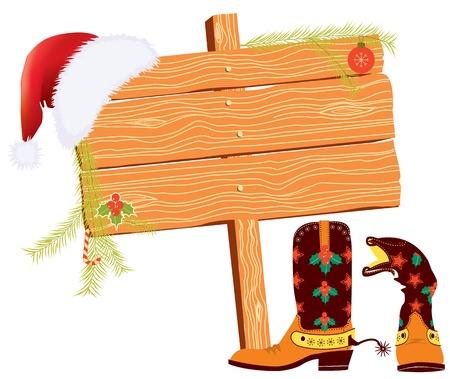 botas de navidad: Navidad de fondo para el texto con los elementos de vaquero en blanco