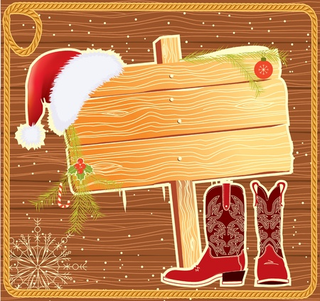 red boots: Billboard frame with SAnta Claus hat.Vector christmas background for text