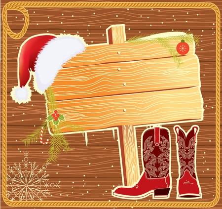 botas de navidad: Billboard marco con Santa Claus hat.Vector fondo de Navidad para el texto