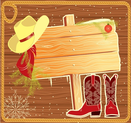 Billboard frame with cowboy hat.Vector christmas background Vector