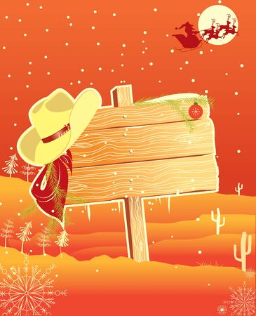 Billboard frame with cowboy hat.Vector christmas background Stock Vector - 10973421