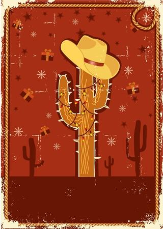 아메리: 오래 된 종이 질감에 텍스트 선인장과 겨울 휴가 장식 카우보이 크리스마스 카드 일러스트