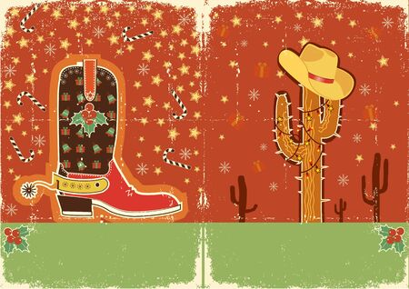 Cowboy christmas  card with boots and holiday decoration for text on old paper texture Vector