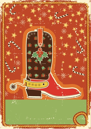 Cowboy christmas  card with boot and holiday decoration for text Vector