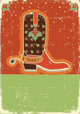 Cowboy red christmas  card with boots and holiday decoration on old paper texture Vector