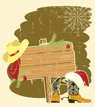 western wall: Billboard frame with cowboy boots and Santa