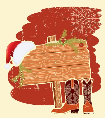 Billboard frame with cowboy boots and Santa Stock Vector - 11057423