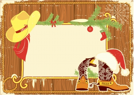 Billboard frame with cowboy boots and Santa Vector