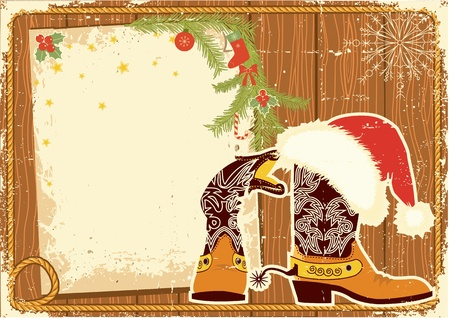 Billboard frame with cowboy boots and Santa Stock Vector - 11057427