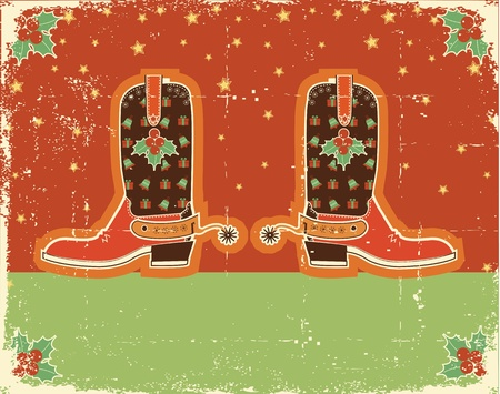 Cowboy red christmas  card with boots and holiday decoration obn old paper texture Vector