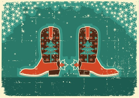 Cowboy christmas  card with boots and holiday decoration on old paper texture Vector