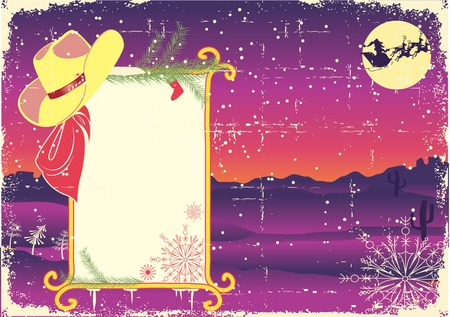 western border: Billboard frame with cowboy hat.Retro christmas background for text.